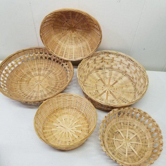 5 Wicker Rattan Baskets Wall Decor Country Boho Vt